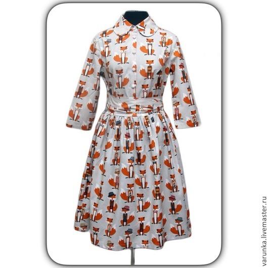 Платья ручной работы. Ярмарка Мастеров - ручная работа. Купить Платье А лисы. Handmade. Разноцветный, Лисы, веселое платье