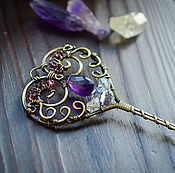 Украшения handmade. Livemaster - original item Pendant Key Heart Brass Amethyst - brooch labradorite - romantic. Handmade.