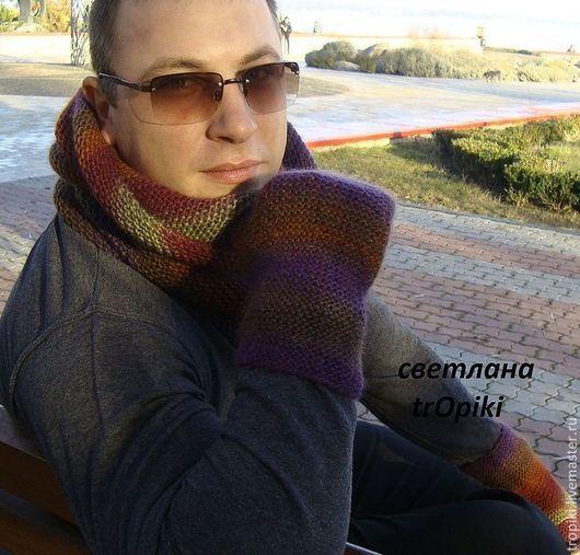Комплекты аксессуаров ручной работы. Ярмарка Мастеров - ручная работа. Купить мужской  шарф-труба + митенки. Handmade.