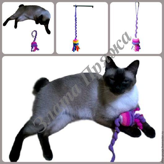 Аксессуары для кошек, ручной работы. Ярмарка Мастеров - ручная работа. Купить Игрушка-подвеска для кота Медуза. Handmade. Комбинированный