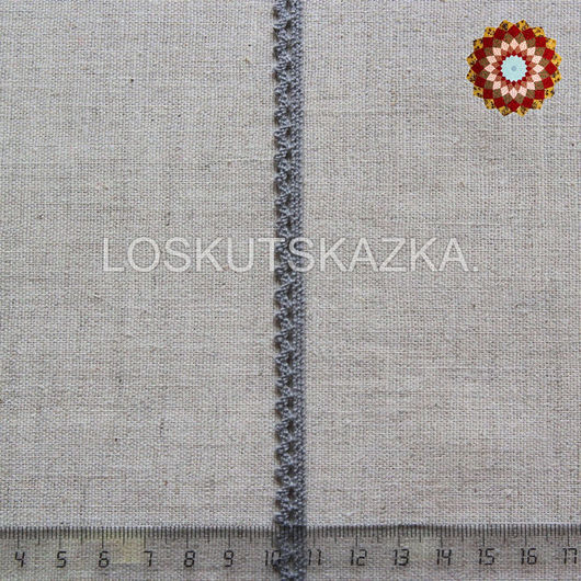 Кружево хлопок, вязаное, 8мм, цвет дымчато-серый, Код товара: KHC-0028