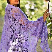 Аксессуары handmade. Livemaster - original item Crochet shawl Inhaling the aromas of roses soft lilac. Handmade.