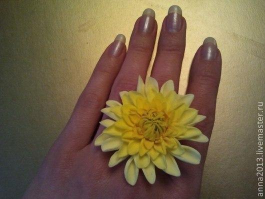 """Кольца ручной работы. Ярмарка Мастеров - ручная работа. Купить Кольцо """"Желтый георгин"""". Handmade. Желтый, кольцо, кольцо с цветком"""