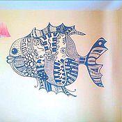 Картины и панно ручной работы. Ярмарка Мастеров - ручная работа Рыба (роспись стен). Handmade.