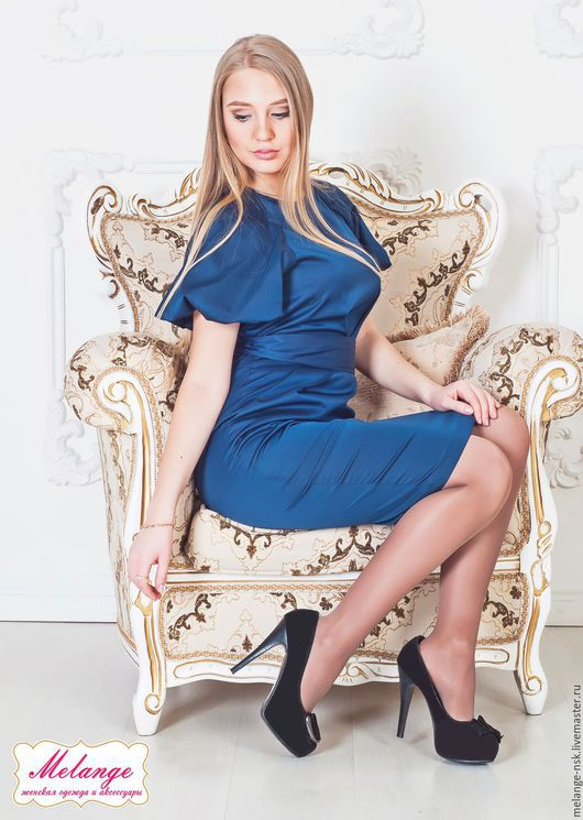 Платья ручной работы. Ярмарка Мастеров - ручная работа. Купить Женственное синее платье-футляр(3.040р со скидкой!!). Handmade.