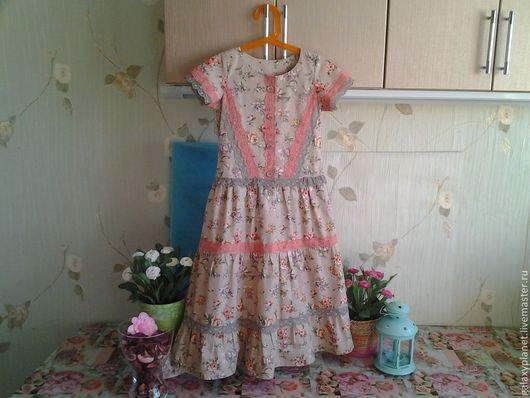 """Одежда для девочек, ручной работы. Ярмарка Мастеров - ручная работа. Купить Платье детское """"Классическое кантри"""" из хлопка с кружевом. Handmade."""