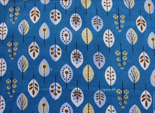 Шитье ручной работы. Ярмарка Мастеров - ручная работа. Купить Ткань листья 50х40 см. Handmade. Синий, ткань для рукоделия