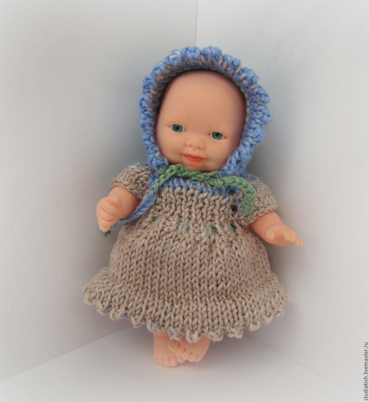 вязаная одежда для пупсов пупсиков маленьких кукол платье шапка