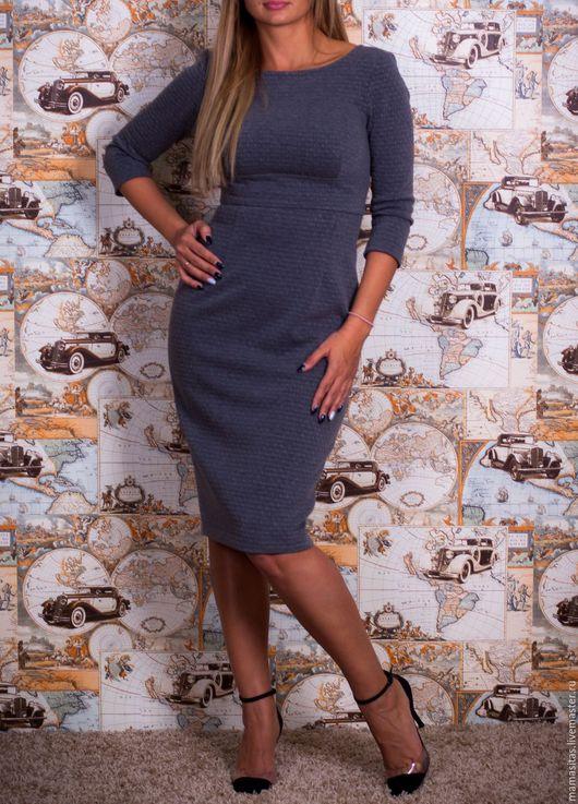 Платья ручной работы. Ярмарка Мастеров - ручная работа. Купить Платье из трикотажного жаккарда серое. Handmade. Серый, платье повседневное