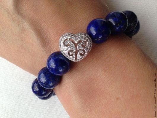 Браслеты ручной работы. Ярмарка Мастеров - ручная работа. Купить Синий браслет из лазурита с ювелирным сердечком. Handmade. Тёмно-синий