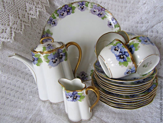 Винтажная посуда. Ярмарка Мастеров - ручная работа. Купить Красивейший старинный чайный фарфоровый сервиз ROSENTHAL. Handmade. Комбинированный, редкость