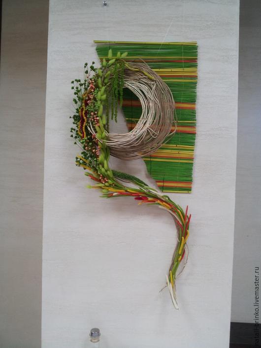 Интерьерные композиции ручной работы. Ярмарка Мастеров - ручная работа. Купить Флористическое   оформление  на стену Заплетала косу полевыми цветами. Handmade.