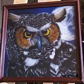 """Картины и панно ручной работы. Ярмарка Мастеров - ручная работа картина из шерсти """"сова"""". Handmade."""