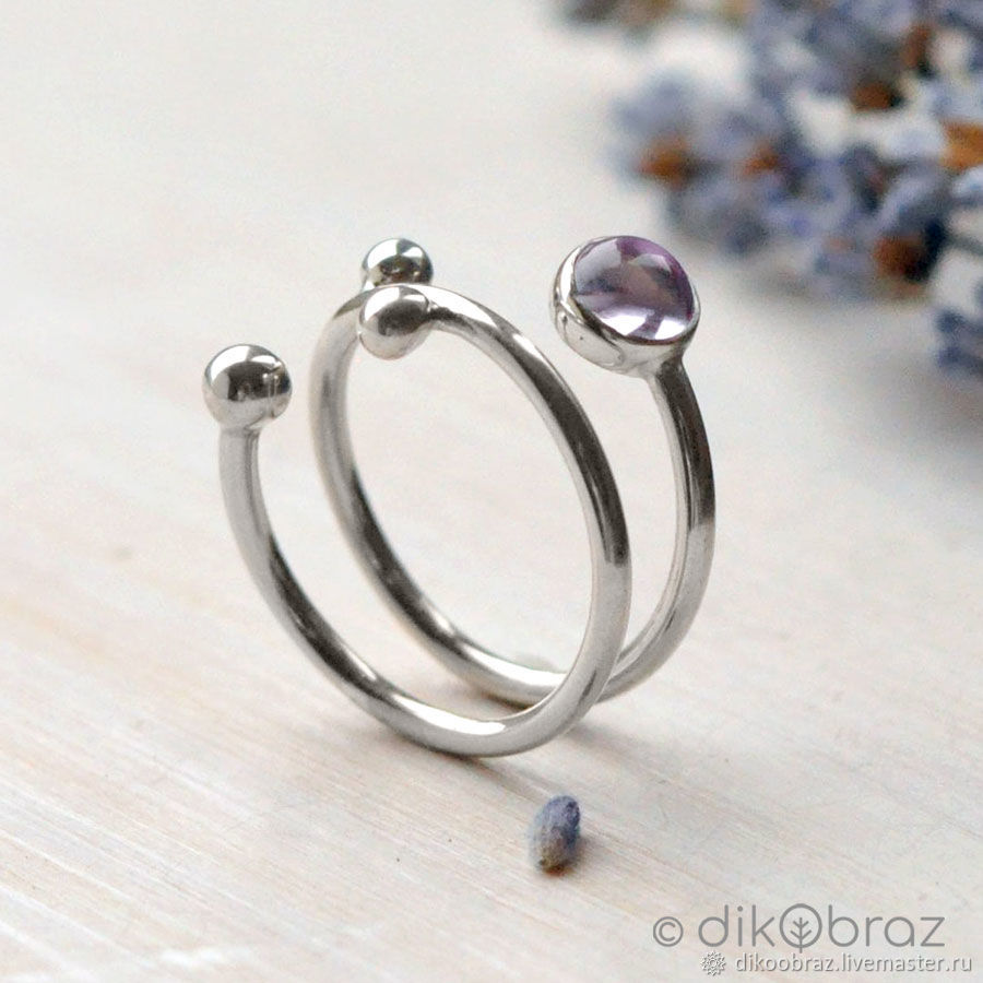 Silver ring spiral motley Grass, pink amethyst, Rings, Moscow,  Фото №1
