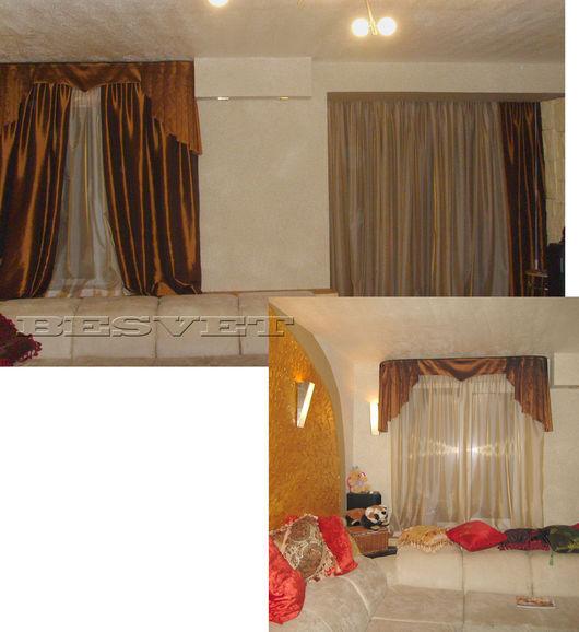 Текстиль, ковры ручной работы. Ярмарка Мастеров - ручная работа. Купить комплект штор в гостиную. Handmade. Шторы в гостиную, органза