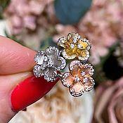 Украшения handmade. Livemaster - original item Silver ring made of 3-color silver