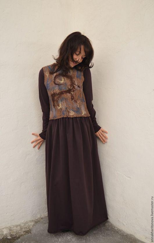 """Платья ручной работы. Ярмарка Мастеров - ручная работа. Купить Платье """"Фреска"""" в голубо-коричневом. Handmade. Коричневый, шерсть"""