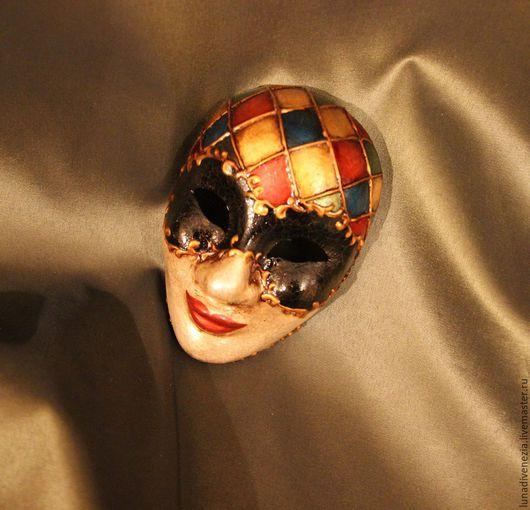 Интерьерные  маски ручной работы. Ярмарка Мастеров - ручная работа. Купить Маска венецианская Арлекино Соло (мини). Handmade. Комбинированный