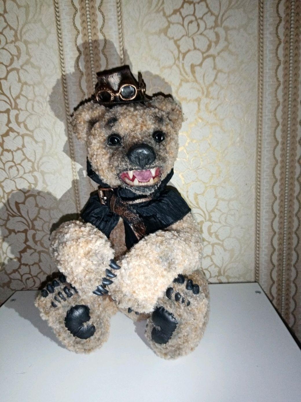 Мишка натур Теодор в стиле стимпанк 26 см. сидя, Мишки Тедди, Санкт-Петербург,  Фото №1