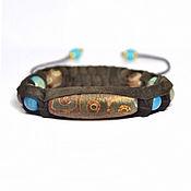 Субкультуры handmade. Livemaster - original item Bracelet Shambhala made of suede with a 9-eyed DZI. Handmade.