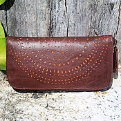 Сумки и аксессуары handmade. Livemaster - original item Wallet genuine leather bicolor with perforation. Handmade.