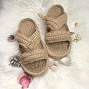 Обувь ручной работы handmade. Livemaster - original item Slippers women`s. Jute slippers. Eco-friendly slippers. Handmade.
