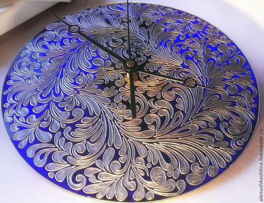"""Часы для дома ручной работы. Ярмарка Мастеров - ручная работа. Купить Часы настенные """"Морозные узоры"""". Handmade. Тёмно-синий"""