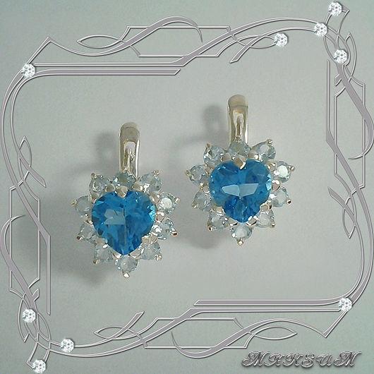 Heart earrings 925 sterling silver with Topaz, Earrings, St. Petersburg,  Фото №1