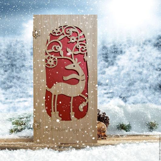 Деревянная открытка с Новогодним праздничным оленем