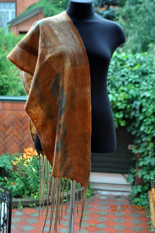 """Шали, палантины ручной работы. Ярмарка Мастеров - ручная работа. Купить Валяный шарф - палантин """"У природы нет плохой погоды"""". Handmade."""