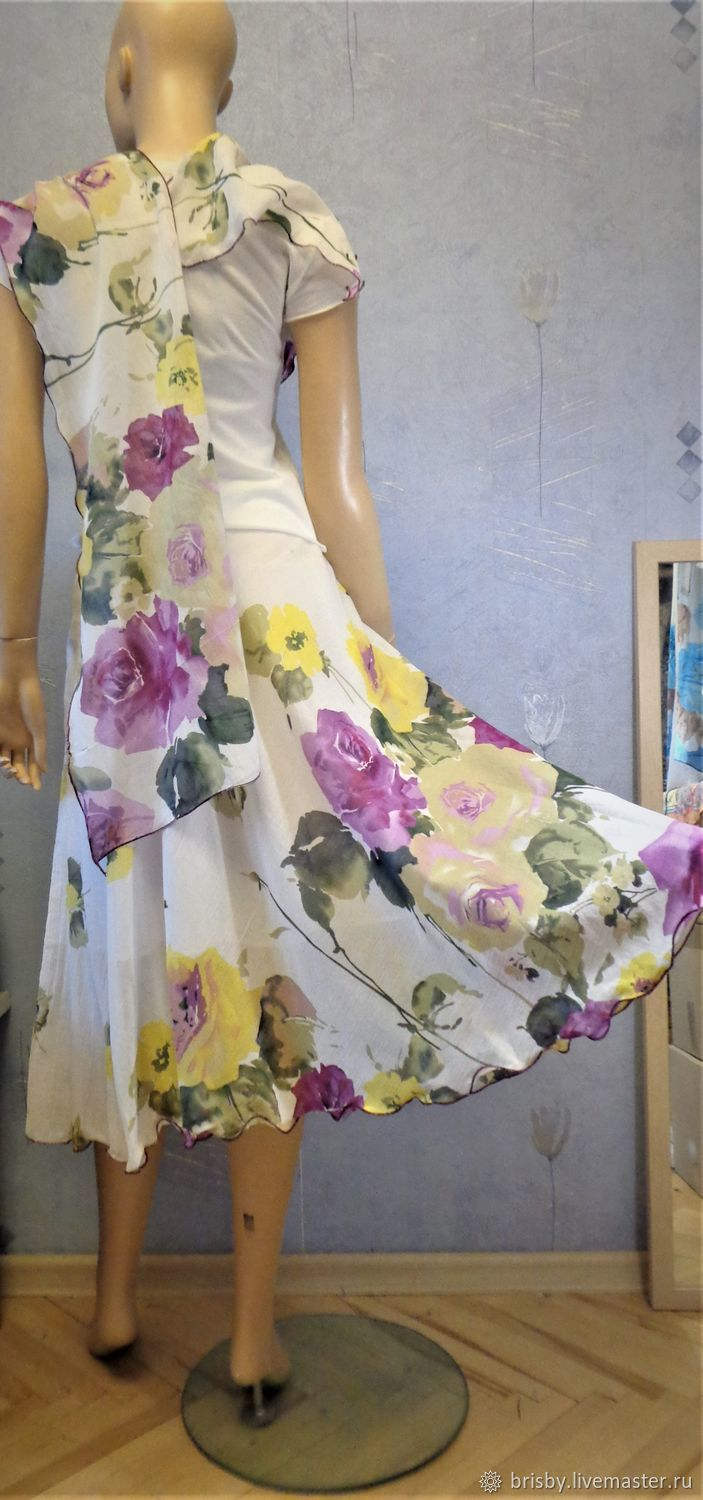 Bell skirt MIDI (purple roses), Skirts, Moscow,  Фото №1