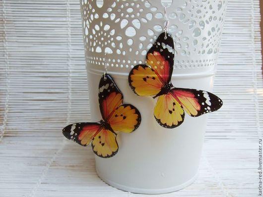 Серьги ручной работы. Ярмарка Мастеров - ручная работа. Купить Прозрачные Серьги Оранжевые Желтые Бабочки. Handmade.