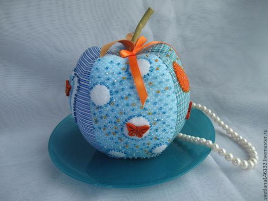 Куклы Тильды ручной работы. Ярмарка Мастеров - ручная работа. Купить Катись, катись яблочко.... Handmade. Голубой, фрукты, листочки