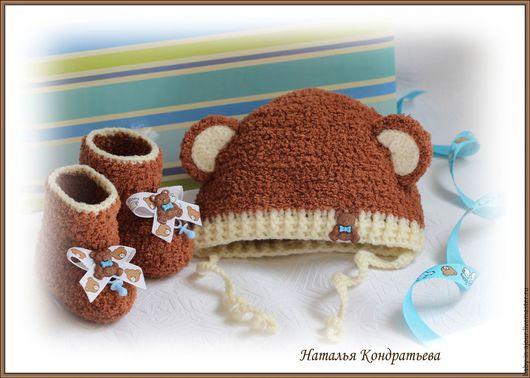 Одежда ручной работы. Ярмарка Мастеров - ручная работа. Купить Шапочка и пинетки (комплект для новорожденного). Handmade. Комбинированный, для новорожденного
