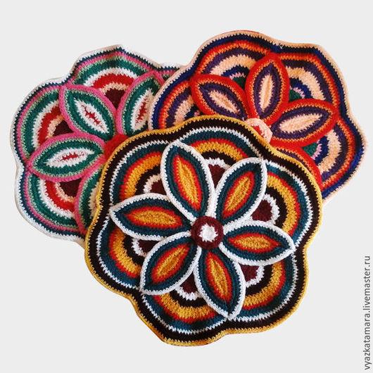 Комплекты аксессуаров ручной работы. Ярмарка Мастеров - ручная работа. Купить коврик вязанный. Handmade. Комбинированный, цветной, заказ, быстро