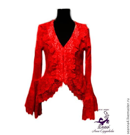 """Блузки ручной работы. Ярмарка Мастеров - ручная работа. Купить Жакет-блузка кружевной """"Красная Ягода"""" роскошный. Handmade."""