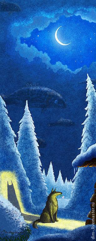 """Фантазийные сюжеты ручной работы. Ярмарка Мастеров - ручная работа. Купить """"Март""""  авторский принт. Handmade. Авторский принт"""