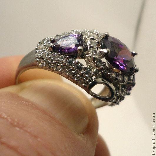 Кольца ручной работы. Ярмарка Мастеров - ручная работа. Купить Серебряное кольцо 925 пробы аметист цирконы восточный стиль Египет. Handmade.