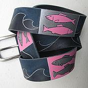 Аксессуары handmade. Livemaster - original item FISH belt leather. Handmade.