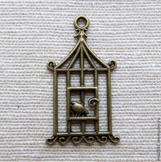 Подвеска клетка с птичкой, цвет  античная бронза