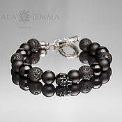 Украшения handmade. Livemaster - original item skull bracelet men`s 12mm beads mix with silver lock. Handmade.