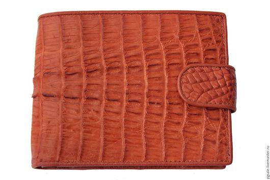 Кошелек из кожи крокодила.Кожа крокодила. Мужской крокодиловый кошелек. Коричневый кошелек. Кошелек с монетницей. Подарок. Подарок мужчине. Оригинальный подарок. Экзотическая кожа