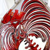 Посуда ручной работы. Ярмарка Мастеров - ручная работа Бутылка гутная (свободное выдувание) Петух, витражная роспись. Handmade.