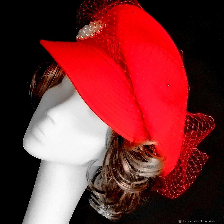 Unique red cap with veil handmade by designer Ushakova, Caps1, Moscow,  Фото №1