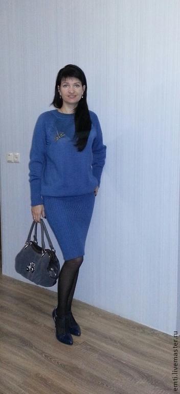 """Платья ручной работы. Ярмарка Мастеров - ручная работа. Купить Платье """"Удобное-джинс"""". Handmade. Синий, вязанная одежда"""