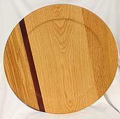 Тарелки ручной работы. Ярмарка Мастеров - ручная работа Большое блюдо из дуба,подача пиццы,тарелка пиццерийная,поднос деревя. Handmade.