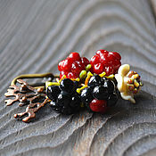 """Украшения ручной работы. Ярмарка Мастеров - ручная работа Брошь лэмпворк """"Wild raspberries"""". Handmade."""