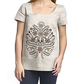 Одежда handmade. Livemaster - original item Blouse linen short sleeve copyrighted print. Handmade.