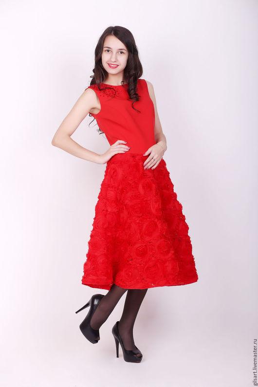 Платья ручной работы. Ярмарка Мастеров - ручная работа. Купить Платье. Handmade. Ярко-красный, нарядное платье, Праздничный наряд
