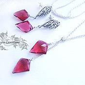 Украшения handmade. Livemaster - original item A set of silver with red quartz